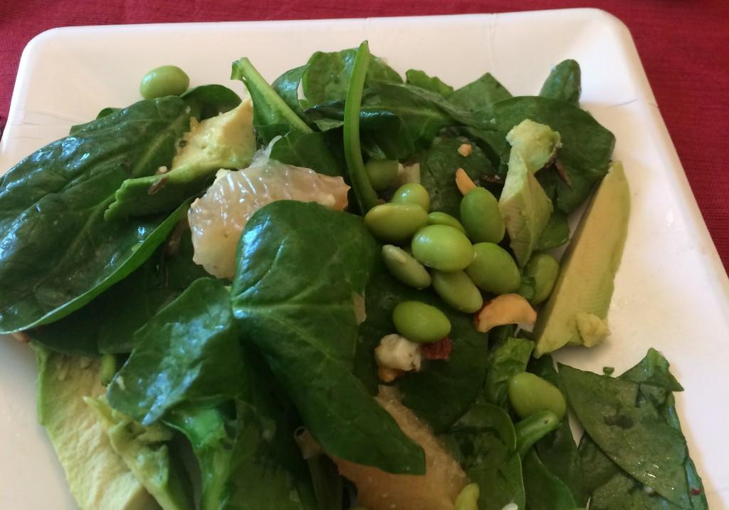 Edamame, spinach, grapefruit & avocado salad