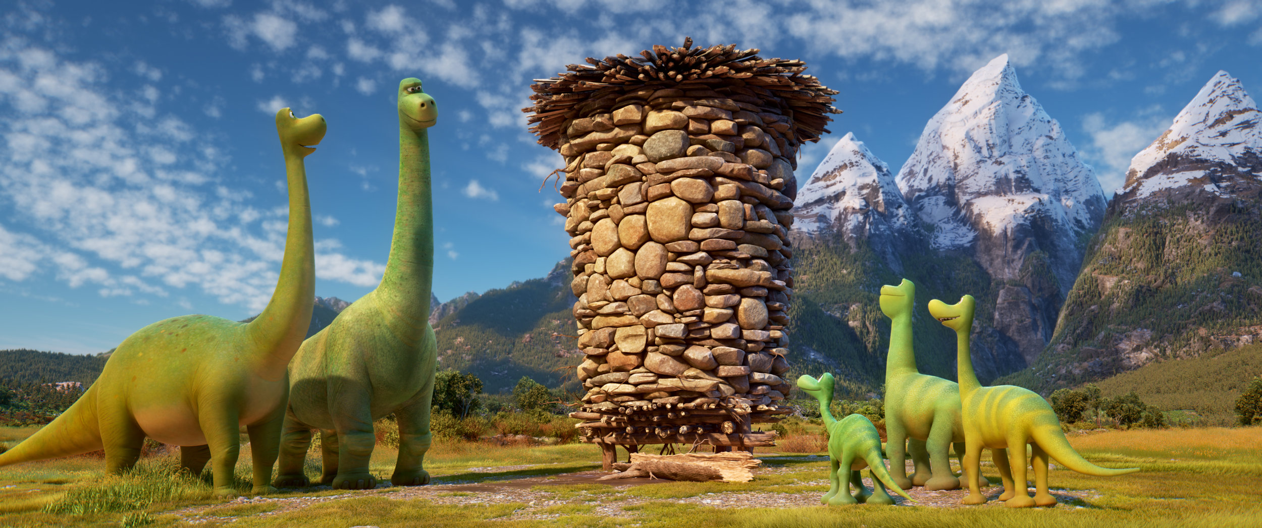 THE GOOD DINOSAUR - Pictured (L-R): Momma, Poppa, Arlo, Buck, Libby. ?2015 Disney?Pixar. All Rights Reserved.